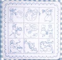 Nursery Rhyme Blue Work Embroidery Pattern BAD-044