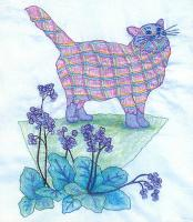 Plaid Cats in My Garden BOM - Block 1 Embroidery Pattern BCC-PC1