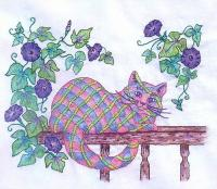 Plaid Cats in My Garden BOM - Block 11 Embroidery Pattern BCC-PC11