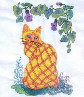 Plaid Cats in My Garden BOM - Block 3 Embroidery Pattern BCC-PC3