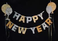 Happy New Year Garland with Balloons Pattern BS2-337