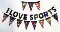 I Love Sports Garland with Pennants Pattern BS2-344