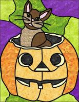 Pumpkin and Cat Stained Glass Quilt Pattern PES-105