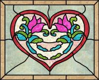 Heart and Glass Stained Glass Quilt Pattern PES-109